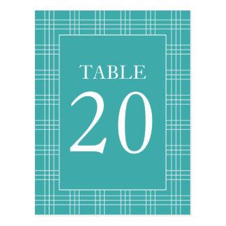 Plaid Table Numbers (Aqua / White) Postcard