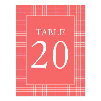 Plaid Table Numbers (Coral / White) Postcard