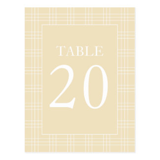 Plaid Table Numbers (Cream / White) Postcard