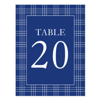 Plaid Table Numbers (Navy Blue / White) Postcard