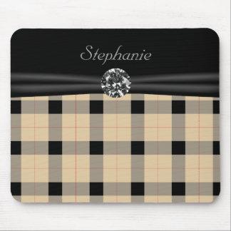 Plaid / tartan  pattern beige and black mouse pad