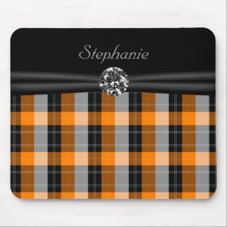 Plaid /tartan pattern orange and Black Mouse Pad