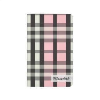 Plaid Tartan Pattern Pocket Journal (baby pink)