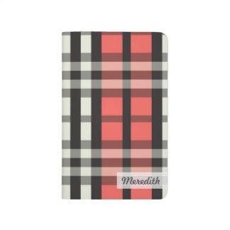 Plaid Tartan Pattern Pocket Journal (rose pink)