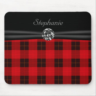 Plaid /tartan pattern red and Black Mouse Pad