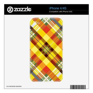 Plaid / Tartan - 'Sunflower' Skin For iPhone 4
