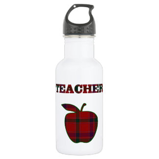 Plaid Teacher's Apple 18oz Water Bottle