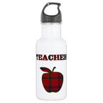 Plaid Teacher's Apple Stainless Steel Water Bottle