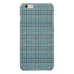 Plaid Teal Blue and Yellow Glossy iPhone 6 Plus Case
