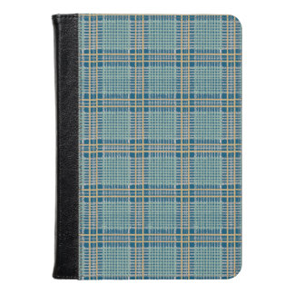 Plaid Teal Blue and Yellow Kindle Case