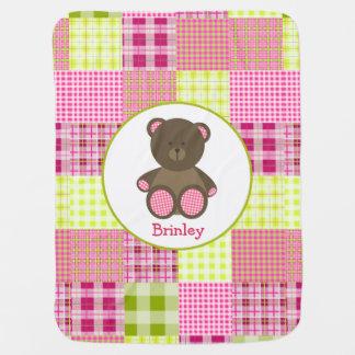 Plaid + Teddy Bear Personalized Baby Blanket