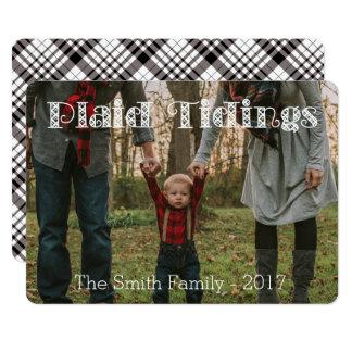 Plaid Tidings Black White Plaid Back Holiday Card