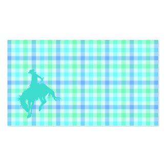 Plaid Turquoise Cowboy Business Card Templates