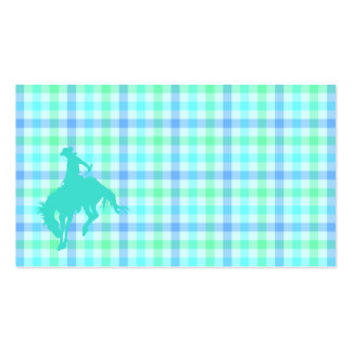 Plaid Turquoise Cowboy Double-Sided Standard Business Cards (Pack Of 100)