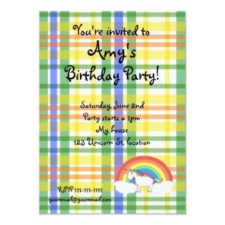 Plaid unicorn birthday invitation