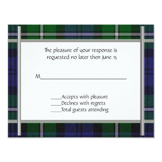 Plaid Wedding RSVP Card