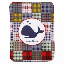 Plaid   Whale Personalized Baby Blanket