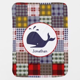 Plaid + Whale Personalized Baby Blanket