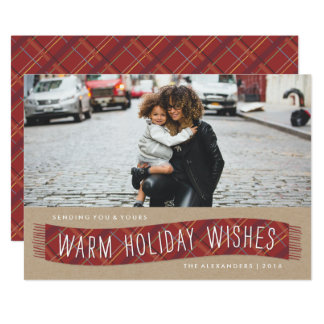 Plaid Winter Scarf Holiday Card - Brick