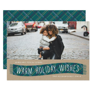 Plaid Winter Scarf Holiday Card - Teal