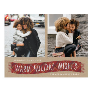Plaid Winter Scarf Holiday Postcard - Brick