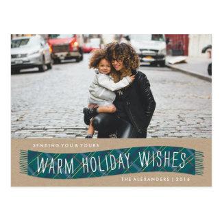 Plaid Winter Scarf Holiday Postcard - Teal