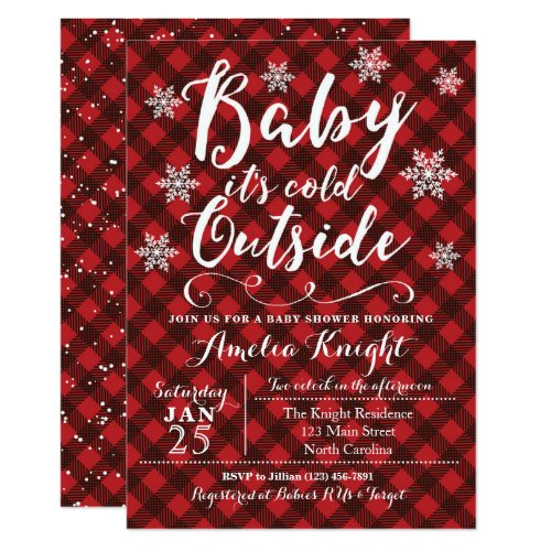 Plaid Winter Snowflake Baby Shower Invitations