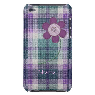 Plaid With Flower Barely There iPod Cover