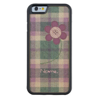 Plaid With Flower Carved Maple iPhone 6 Bumper Case