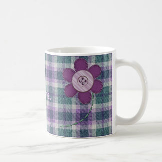 Plaid With Flower Coffee Mug