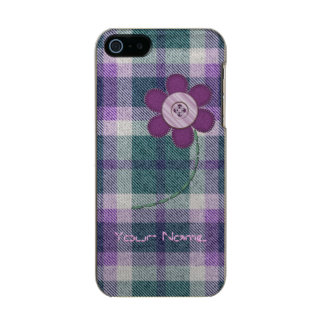 Plaid With Flower Metallic Phone Case For iPhone SE/5/5s