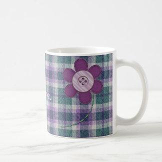 Plaid With Flower Coffee Mugs
