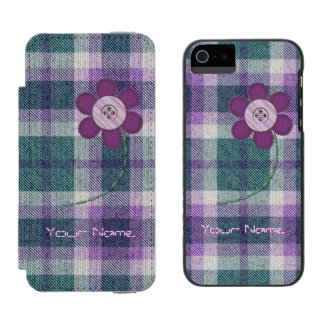 Plaid With Flower Wallet Case For iPhone SE/5/5s