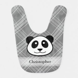 Plaid with Panda Face Baby Bibs