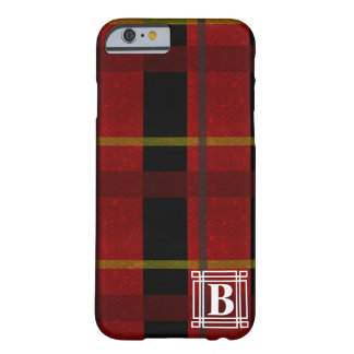 Plaid with White Monogram Barely There iPhone 6 Case