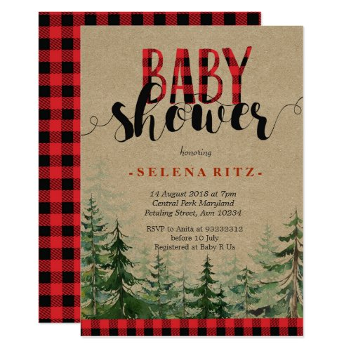 Plaid Wood Woodland Forest Lumberjack Baby Shower Invitation