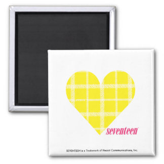 Plaid Yellow 2 2 Inch Square Magnet