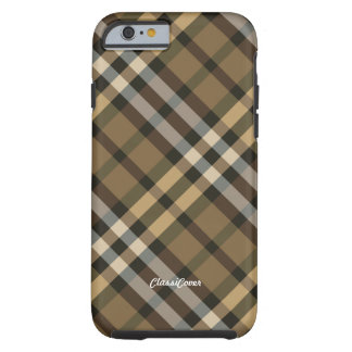 Plaid Yellow Brown Tough iPhone 6 Case