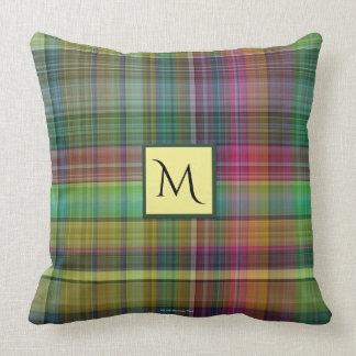 Plaid Yellow Pink Green Throw Pillow