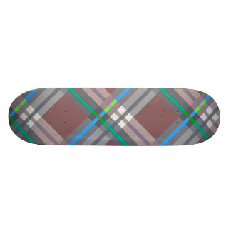 Plaids, Checks and Tartans in Brown and Turquoise Skateboard