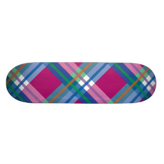 Plaids, Checks and Tartans in Pinks and Blues Skateboard Deck