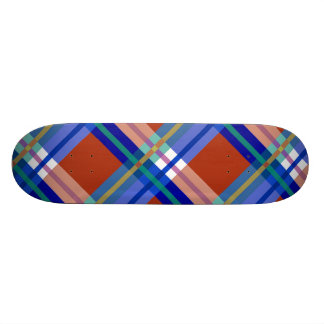 Plaids, Checks and Tartans in Red And Blue Skateboard Deck
