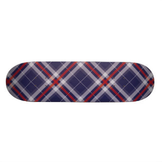 Plaids, Checks and Tartans in  White Red and Blue Skateboard Deck