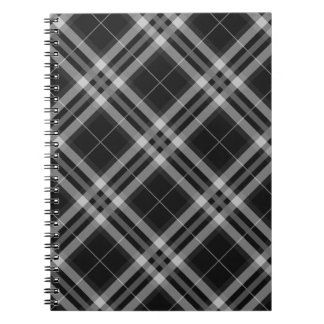 Plaids, Checks, Tartans Black And White Notebook