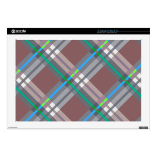 Plaids, Checks, Tartans Brown and Turquoise Decal For Laptop
