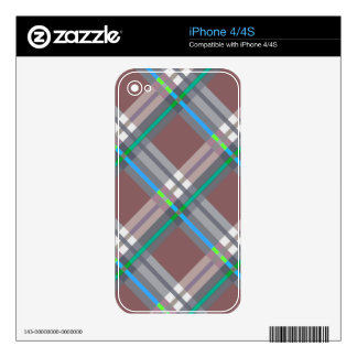 Plaids, Checks, Tartans Brown and Turquoise Decals For iPhone 4