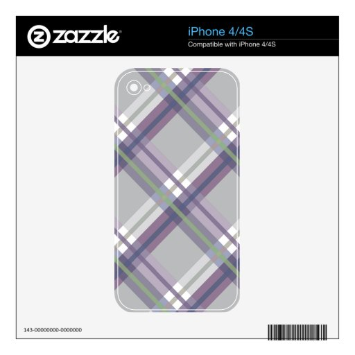 Plaids, Checks, Tartans Grey Green Lavender Skin For The iPhone 4S