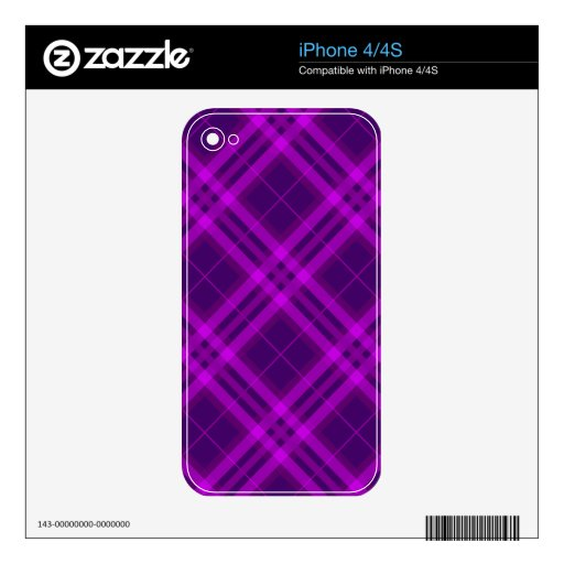 Plaids, Checks, Tartans purple and deep magenta Skin For The iPhone 4