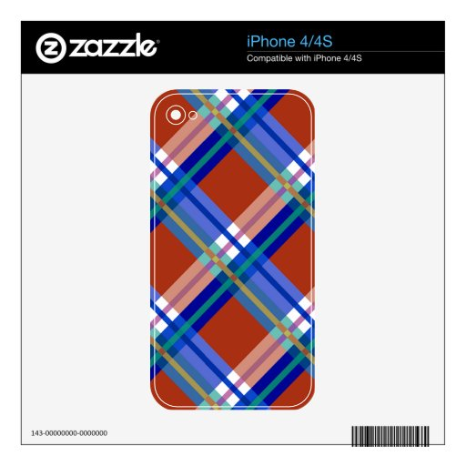 Plaids, Checks, Tartans Red and Blue Decal For iPhone 4