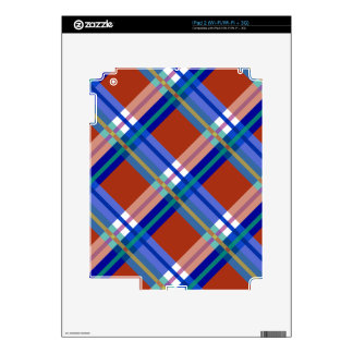 Plaids, Checks, Tartans Red and Blue Skins For iPad 2